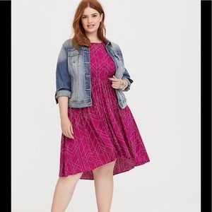 TORRID Berry Dot Hi-Lo Challis Dress